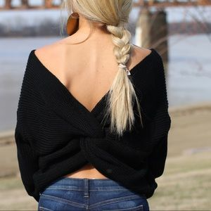 Sweaters - Black, Twist Sweater